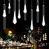 Guaiboshi Meteor Shower Lights 11.81''(30cm) 8 Tubes 140LEDs USB Powered Waterproof Falling Rain Drop Christmas Light Icicle Fairy Light for Xmas(White)
