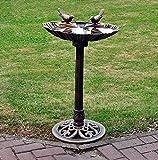Traditional Weatherproof Pedestal Garden Bird Bath - Bronze