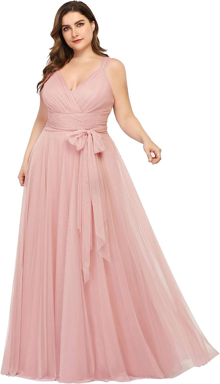 Ever-Pretty Women\'s Plus Size V-Neck Wrap Empire Waist Tulle Bridesmaid  Dress 7303PZ