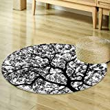 Round Rugs for Bedroom Apartment Decor Forest Tree Branches Modern Decor Spooky Horror Movie Themed Print Black and White Circle Rugs for Living Room R-47