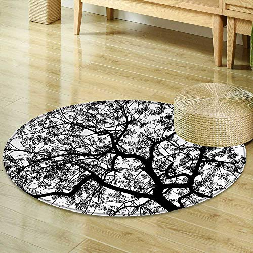 Round Rugs for Bedroom Apartment Decor Forest Tree Branches Modern Decor Spooky Horror Movie Themed Print Black and White Circle Rugs for Living Room R-47 by Mikihome