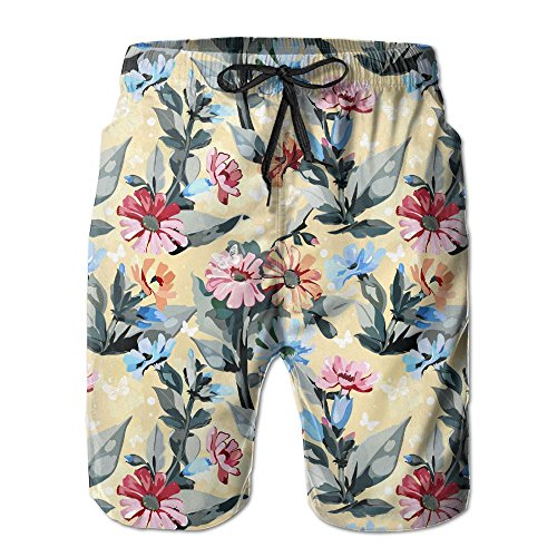 (DS-co Daisy Floral With Butterfly Men's Summer Beach Quick-Dry Surf Swim Trunks Boardshorts Cargo)