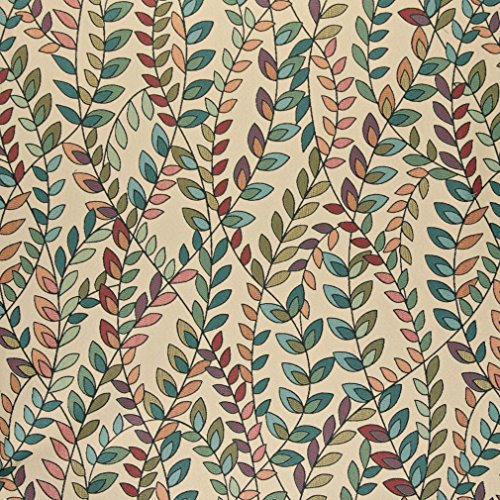 A0027C Teal Green Orange And Purple Vines And Leaves Contemporary Upholstery Fabric By The Yard - Modern Contemporary Upholstery Fabric