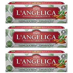 L'Angelica: Toothpaste with Phytotherapic Extracts, with Cinnamon and Mint - 2.53 Fluid Ounces (75ml) Tubes (Pack of 3) [ Italian Import ]