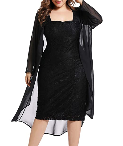 LALAGEN Womens Plus Size Lace Bodycon Wedding Party Midi Dress with Chiffon  Cardigan