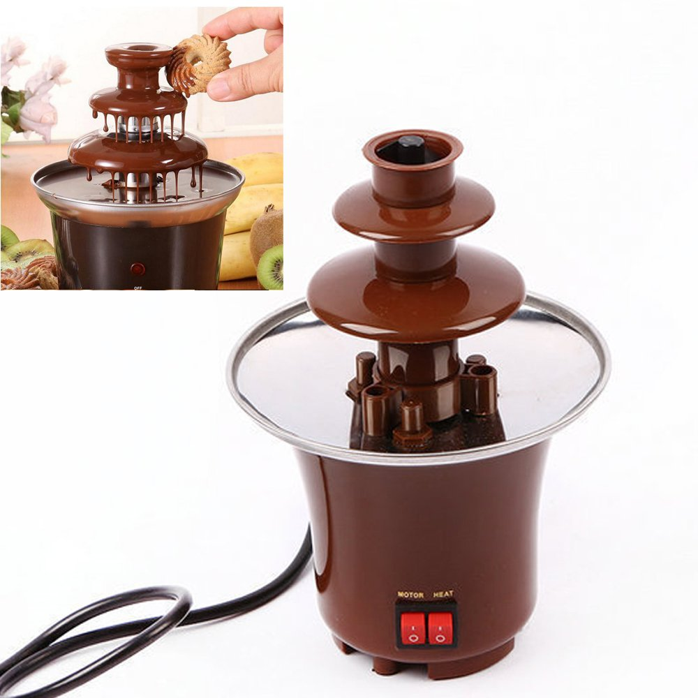 Lightton 3 Tiers 3-Pound Capacity Stainless Steel Chocolate Fondue Fountain For Home Party Restaurant Hotel Use with Luxury Waterfall AB