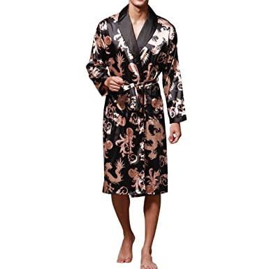 cb507ab48d9b2 Haseil Men's Satin Robe Dragon Luxurious Silk Spa Long Sleeve House Kimono  Bathrobe, Black,