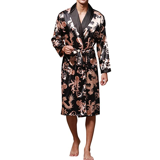 68e762a0f5 Sue Joe Men s Silk Robe Patterned Knee Length Belted Satin Floral Kimono  Bathrobe