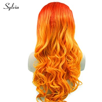 Amazon Com 24 Red Orange 2tone Ombre Body Wave Synthetic Lace