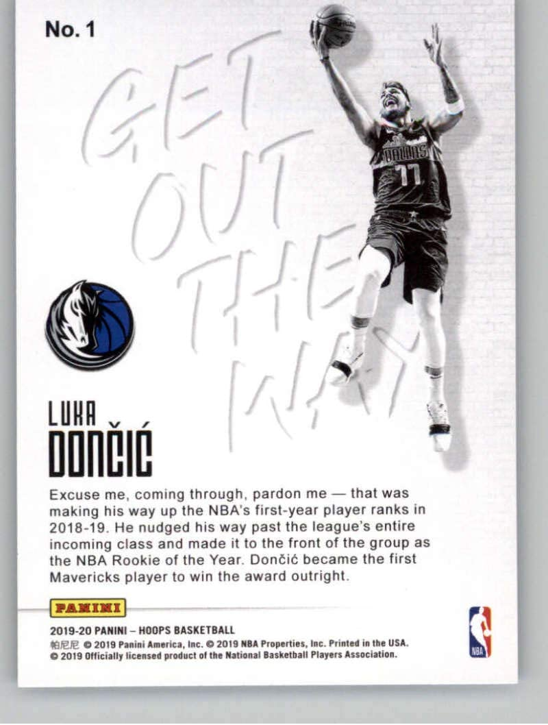 2019-20 NBA HOOPS LUKA DONCIC GET OUT THE WAY INSERT