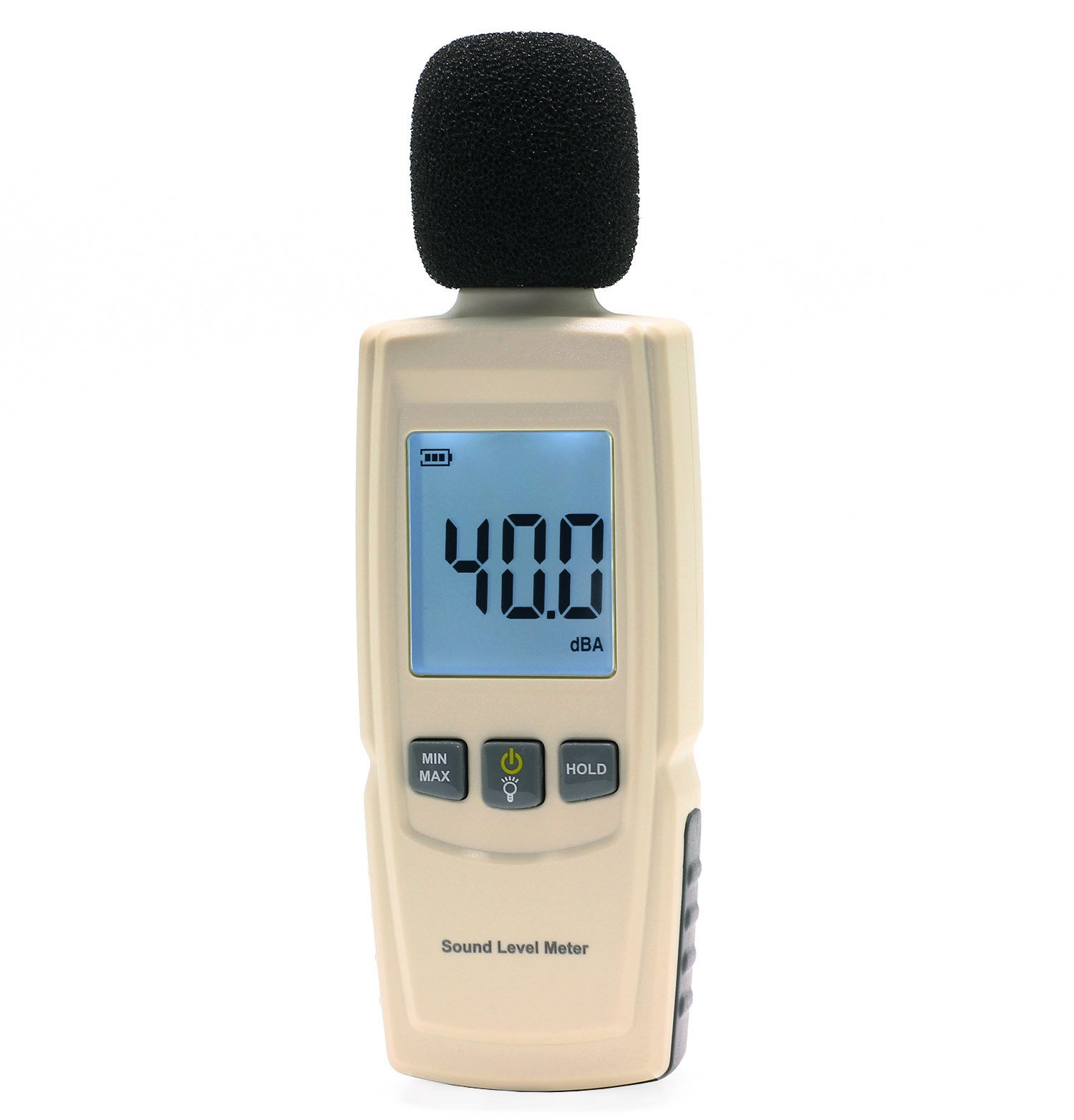 LotFancy Decibel Meter Reader, Digital Sound Level Tester, Measurement Range 30dBA -130dBA, Accuracy within +/-1.5dBA, Max/Min Hold Function, Large Backlit LCD Display, Batteries Included by LotFancy