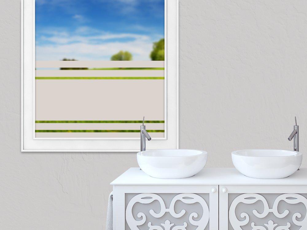 GRAZDesign 990075_150x57_GS Sichtschutzfolie Fensterfolie selbstklebend viele Streifen dünn dick   zur Dekoration und Sichtschutz   Blickdichte Glasdekorfolie (150x57cm)