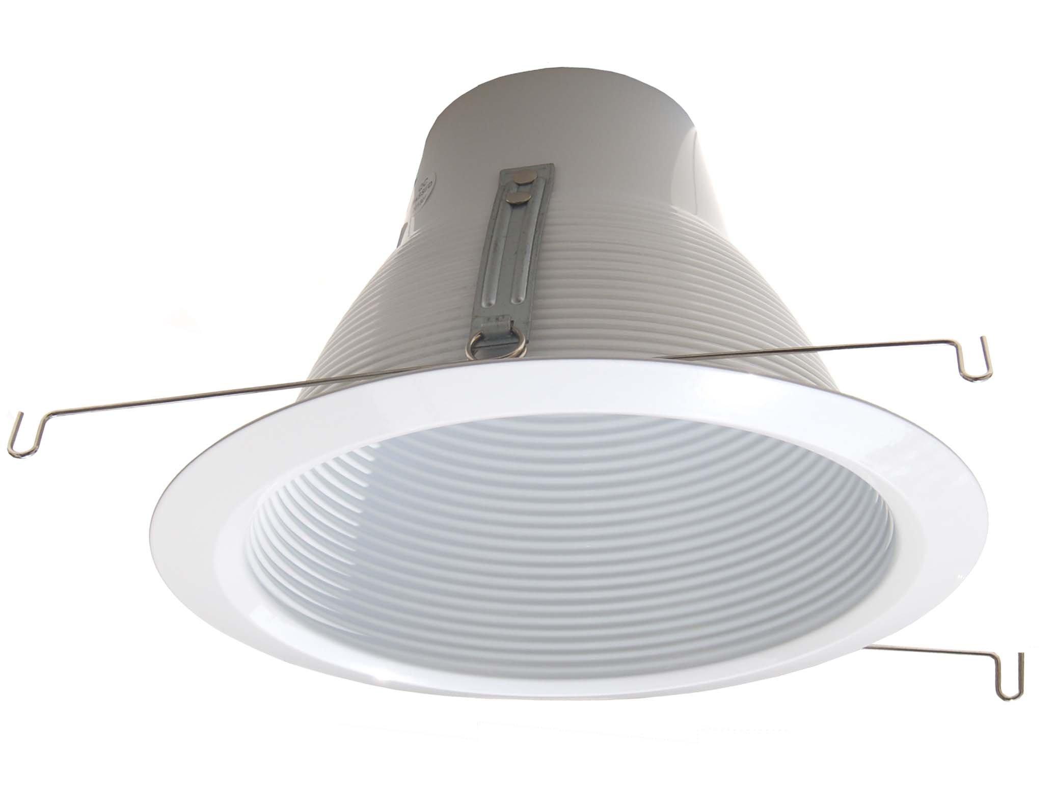 6-Pack--6'' Deep Self Flange Air-Shut Baffle Trim For Line Voltage Recessed Light-White