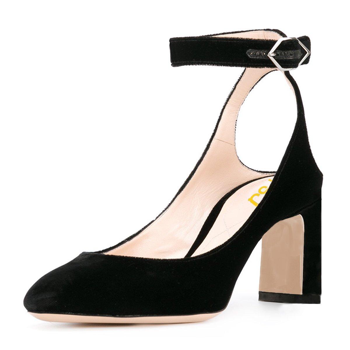 f02bb29e102ac Amazon.com | FSJ Women Velvet Ankle Strap Pumps Retro Round Toe ...