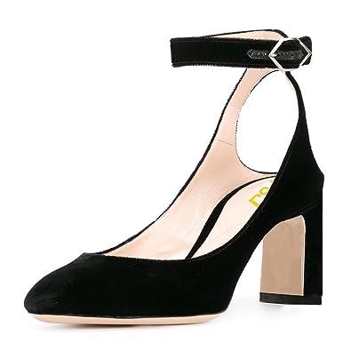 2c9b6382df33 FSJ Women Velvet Ankle Strap Pumps Retro Round Toe Chunky High Heels  Slingback Sandals Size 4