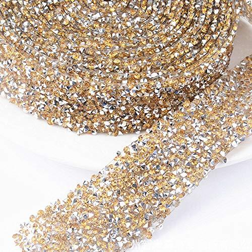 MOPOLIS 1X Crystal Rhinestone Mesh Belt Decal Embellishment Decor Bridesmaid Dress Belt | Color - Crystal Yellow Silver Bottom