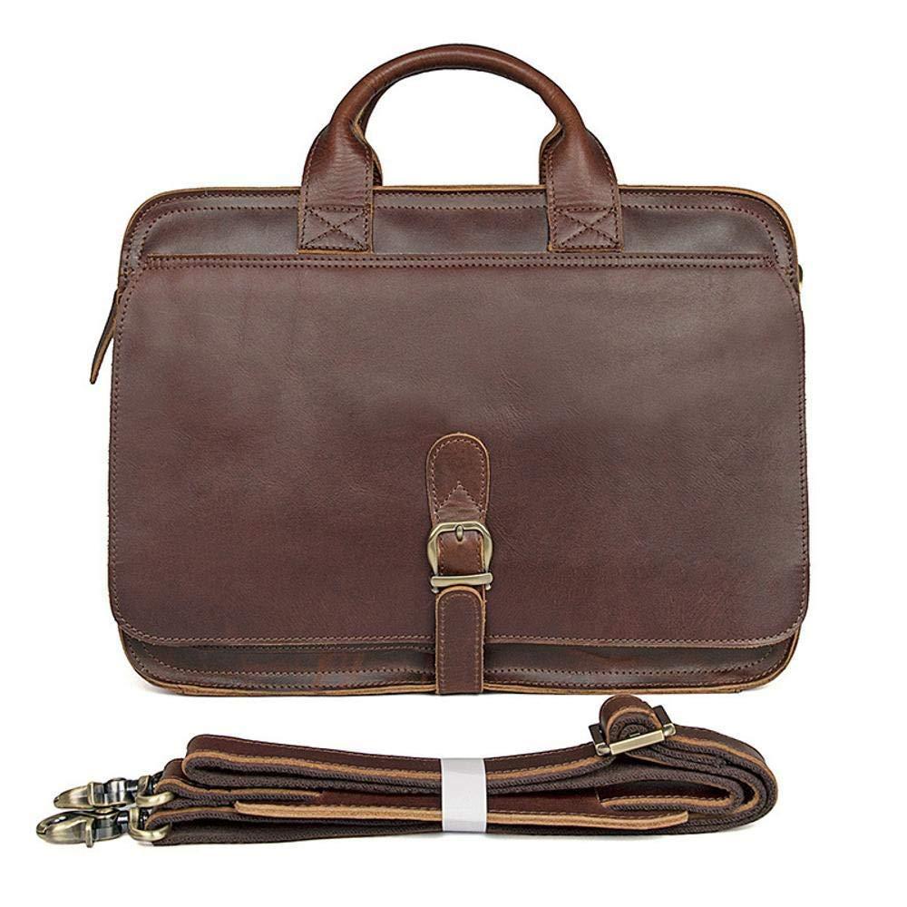 JINGB Retro Crazy Mapina Bag Leather Briefcase Tote Bag