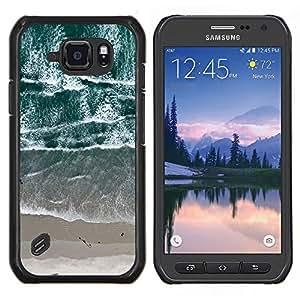 Vista de la playa Olas del mar de arena- Metal de aluminio y de plástico duro Caja del teléfono - Negro - Samsung Galaxy S6 active / SM-G890 (NOT S6)