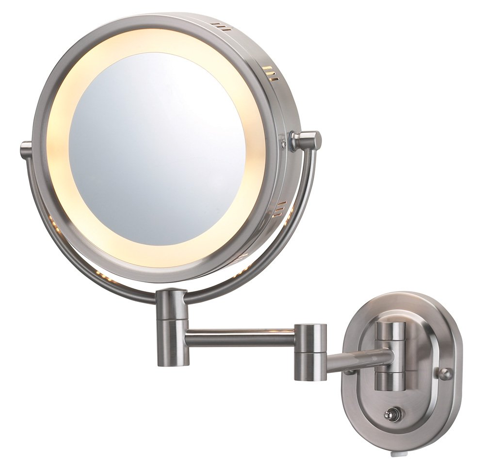 Jerdon HL65N 8-Inch Lighted Wall Mount Makeup Mirror with 5x Magnification, Nickel Finish