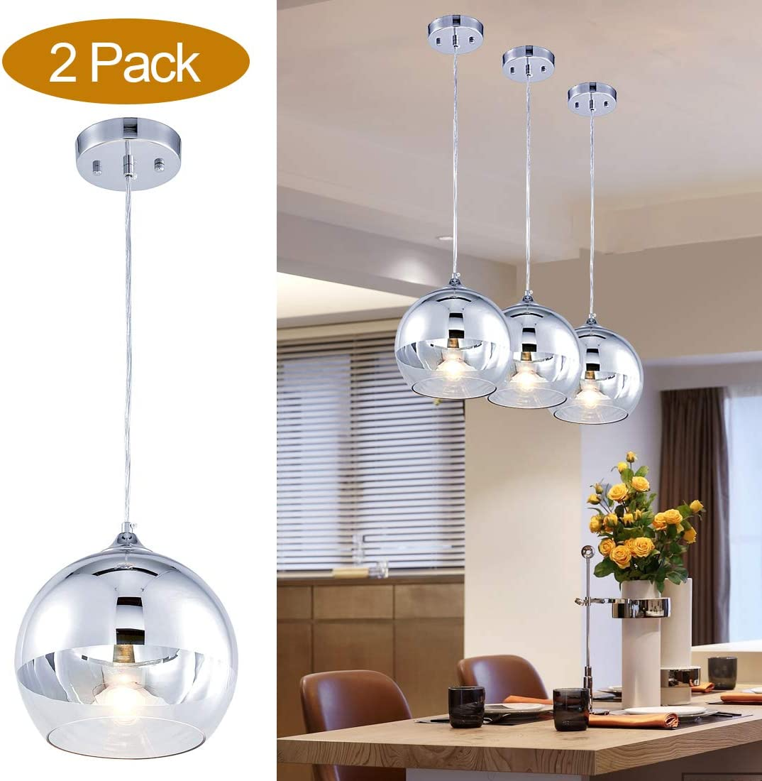 TZOE Glass Pendant Lighting for Kitchen Island, 9 Hand Blown Glass Hanging Light, Polished Chrome Pendant Light,Height Adjustable Mirror Ball Pendant Lighting, 2 Pack UL Listed