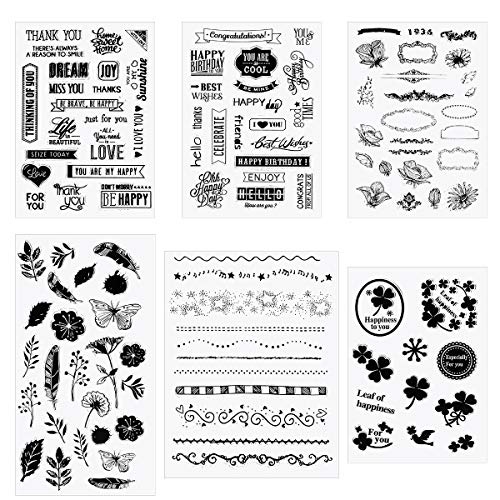 Apipi 6 Sheets of Silicone Clear Stamps with 110+ Stamps in Different Themes, Pretty Patterns Seal Stamps for Card Making Decoration and Scrapbooking 6 Pack Clear Stamp