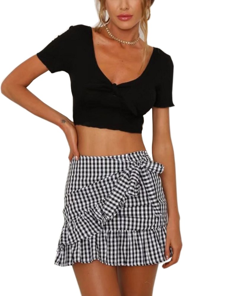 Women's Summer Casual Flannel Plaid Flare Short Mini A Line Skirt