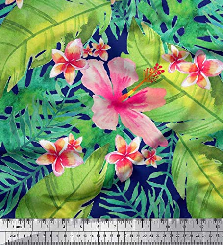 (Soimoi Blue Cotton Cambric Fabric Leaves & Plumeria Flower Tropical Fabric Prints by Yard 42 Inch Wide)