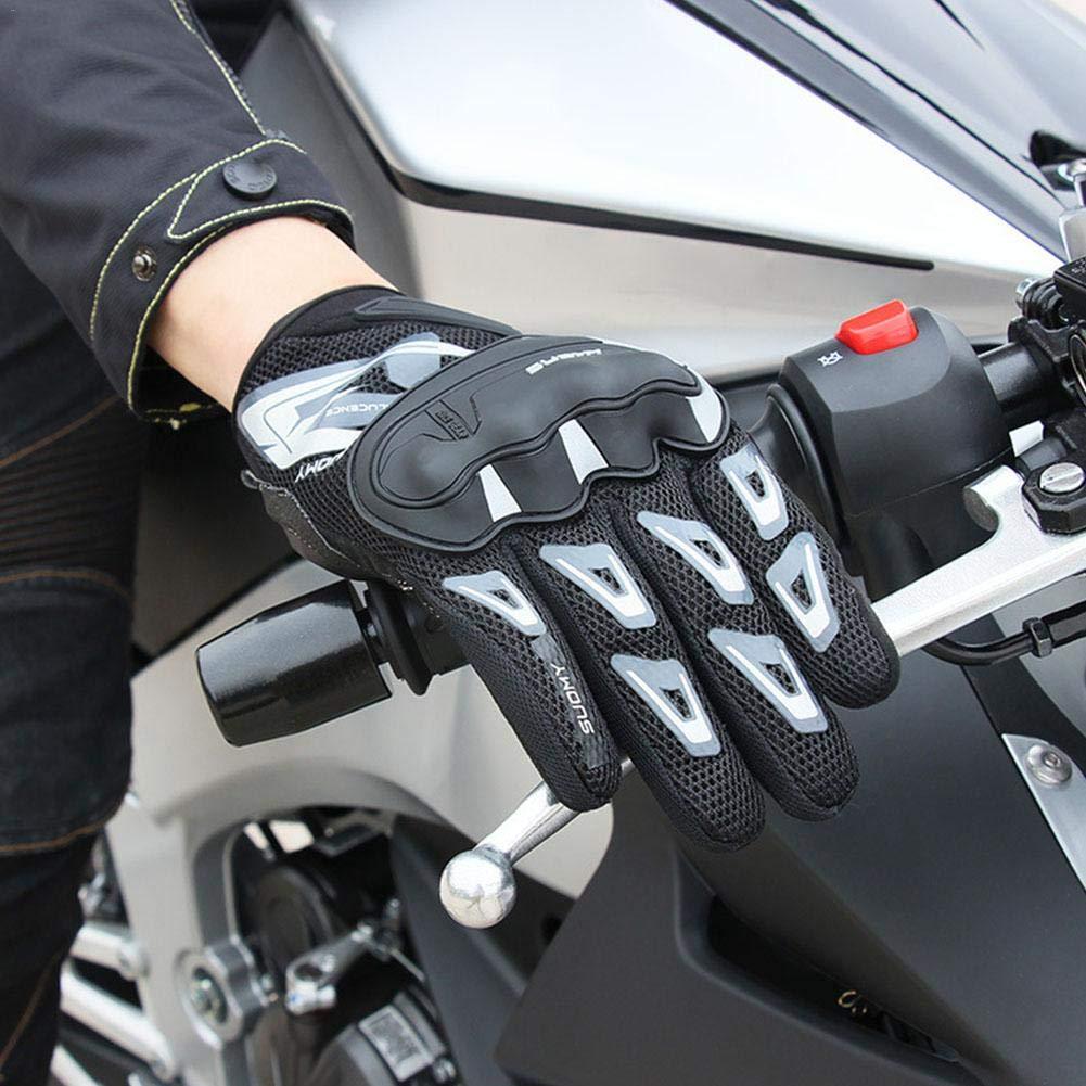 Guanti Moto Estivi Full Finger Guanti da Corsa off-Road Unisex Sezione Sottile Mesh Traspirante Riding Anti-Caduta Nero//Rosa