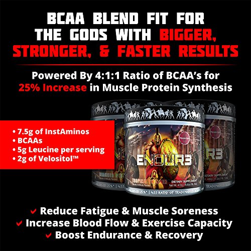 ENDUR3 Intra Workout BCAA Supplement | 4:1:1 Ratio of Trademarked Amino Acid Blend at Clinical Dosage | Best Drink for Endurance & Recovery | 30 Servings (Unicorns Blood) by Olympus Labs (Image #2)