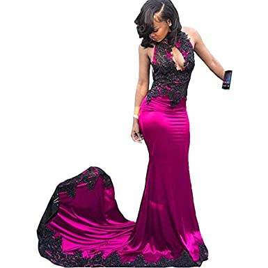 b533f5d8d141 KapokBanyan Sexy Black High Neck Mermaid Lace Prom Dresses 2018 Backless  Long Bridesmaid Dresses Party Evening