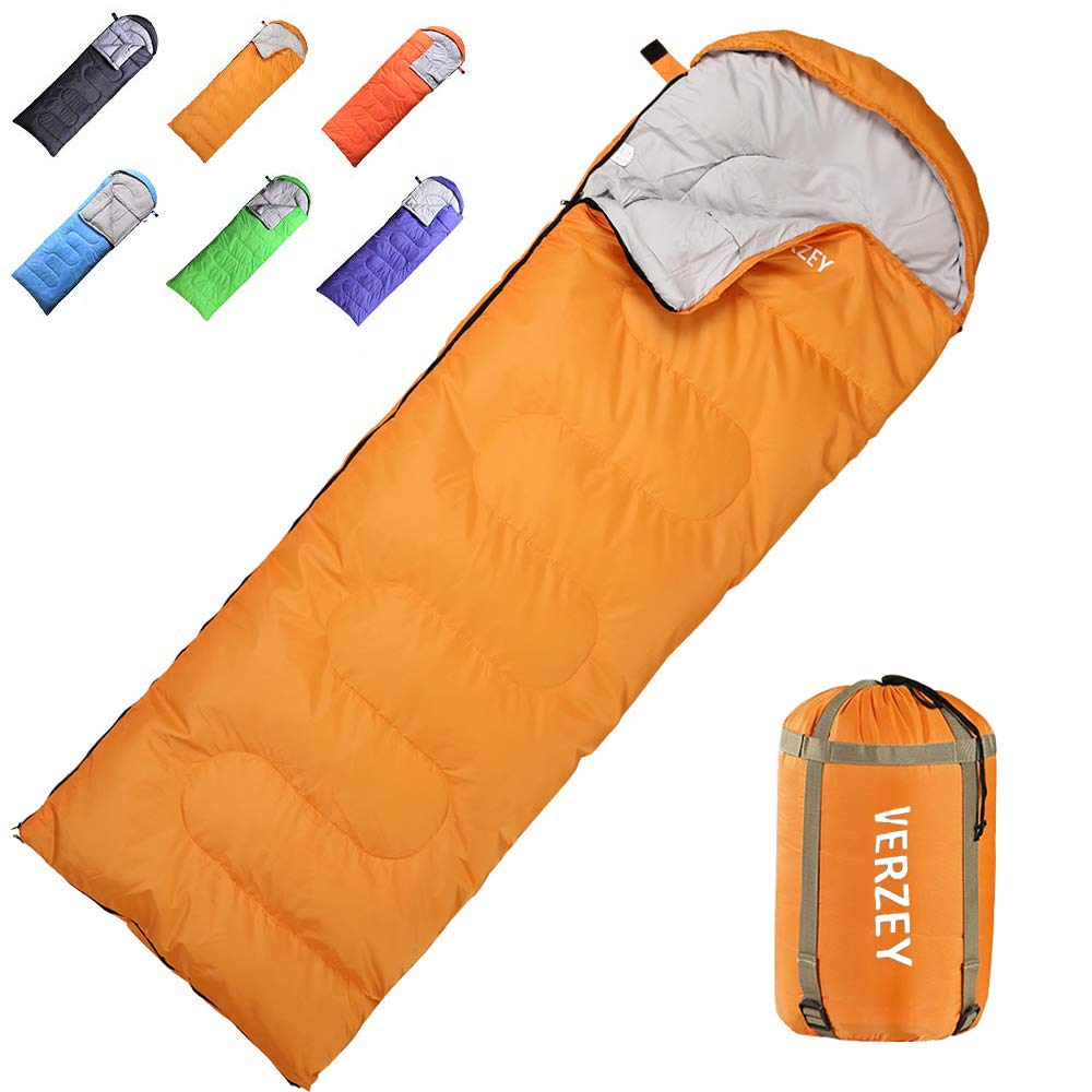 VERZEY Envelope Camping Sleeping Bag for Adults, Youth,Kids & Boys, Great for 3-4 Season,Portable for Traveling Hiking Waterproof Lightweight Outdoor Sleeping Bags by VERZEY