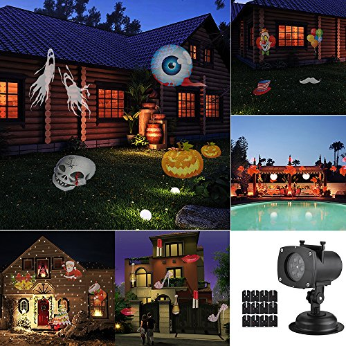 Halloween Projector LED Lights for Decoration,Waterproof IP65 Landscape Projector LED Lights with 12 Switchable Patterns for Party&Christmas,Auto Rotating Projection LED Snowflake (Best Door Decorations For Halloween)
