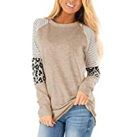 Akihoo Women's Long Sleeve Leopard Color Block Tunic Comfy Stripe Round Neck T Shirt Tops