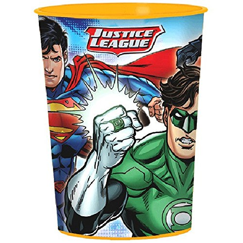 Adventure Filled Justice League Birthday Party Favor Cup, Multi Colored, Plastic, 16 Ounces, 1-Piece