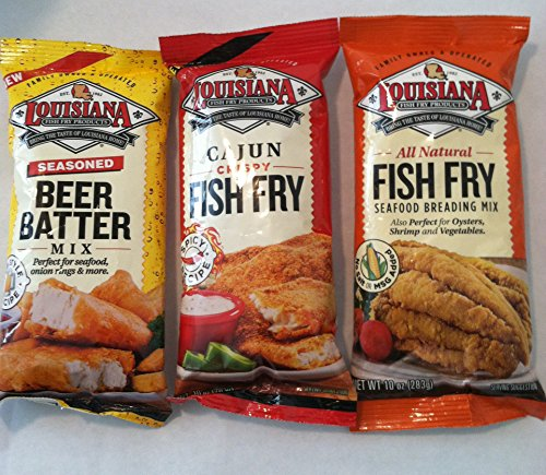Fish Fry - Louisiana Fish Fry Trio One Pack Each of Cajun,seasoned Beer Batter, and Seafood Breading