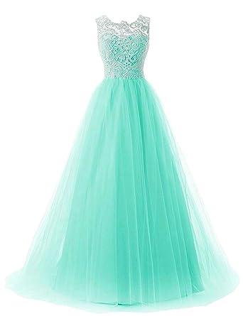 OYISHA Womens Long Lace Prom Evening Dress Chiffon Bridesmaid Formal Gowns AFM50 Aqua 2