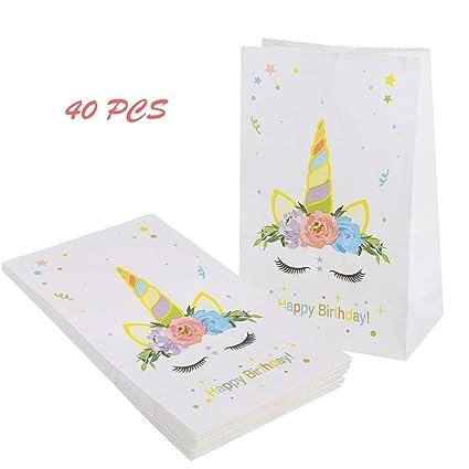 40 bolsas de regalo de papel de unicornio con bolsas para ...