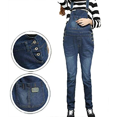 ad8e3c34353b9 Happy Island Denim Maternity Suspender Trousers Jeans Pant for Pregnant  Women Clothes Prop Dungarees Belly Legging