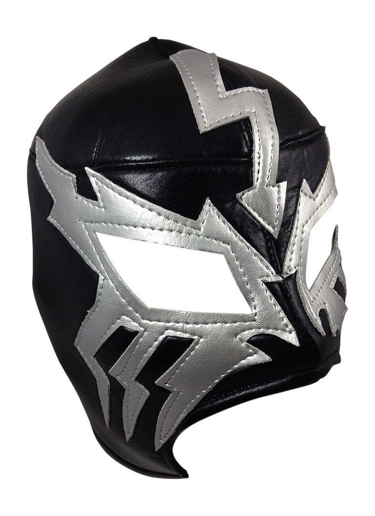 ELECTRICO Adult Lucha Libre Wrestling Mask (pro-fit) Costume Wear - Black/Grey by Mask Maniac