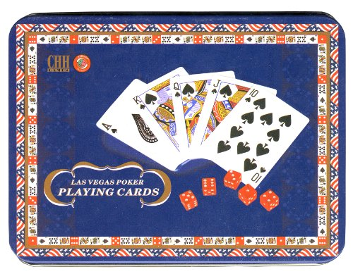 Las Vegas Poker Playing Cards with Dice and Tin