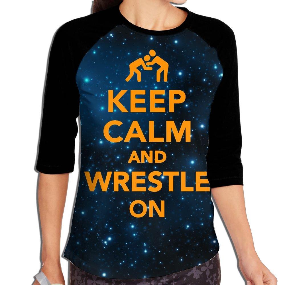 Lwnek Keep Calm and Wrestling On Womens Or Youth Plain Raglan Shirt 3/4 Sleeve Athletic Baseball XXL