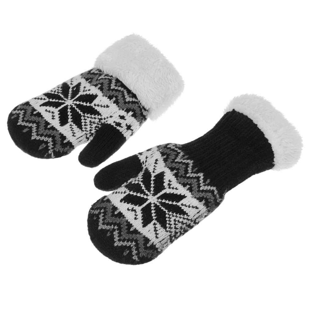 Girls Boys Winter Thermal Thick Plush Lining Knitted Cycling Ski Gloves for 4-10 Yrs