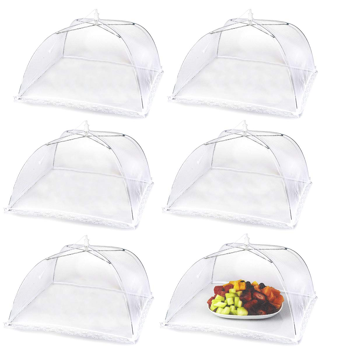 Food Tent Covers for Outdoors 17'' Pop Up Food Cover Nets Set of 6