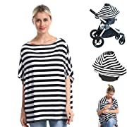 Nursing Breastfeeding Cover Car Seat Canopy for Infant Baby, Soft Bamboo Jersey, Extremely Stretchy, All-in-one Convertible Carseat Stroller Cover, Multi Use Nursing Cover Up Poncho Tops Clothe Stripe