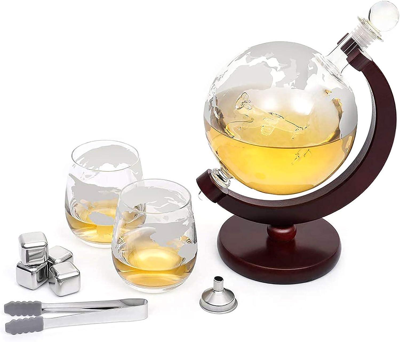 Whiskey Dekanter-Set mit Gl/äsern und ge/ätztem Weltkugel aus Glas geeignet f/ür Whiskey Brandy Tequila Rum Wein 1500 ml Flugzeug