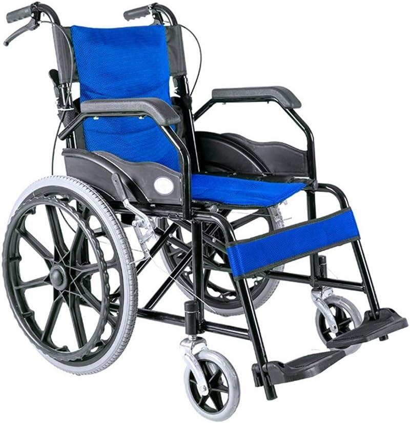 Silla de Ruedas Plegable Manual de instrucciones del sillón de ruedas mayor niños de peso ligero plegable silla de ruedas manual para Ancianos, Discapacitados ( Color : Azul , Size : ONE SIZE )