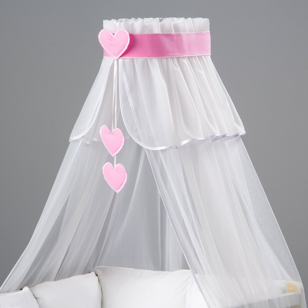 3 element set : Lovely Canopy/Mosquito Net for Baby Cot Bed Crib + hanging Decorations + Holder / Designed by Dreamzzz handmade Fastina