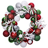 V&M VALERY MADELYN Pre-Lit 20'' Delightful Red Green Silver and White Christmas Wreath,Rattan Base, Shatterproof Ball OrnamentsIncluded, Battery Operated 20 LED Lights with Remote and Timer