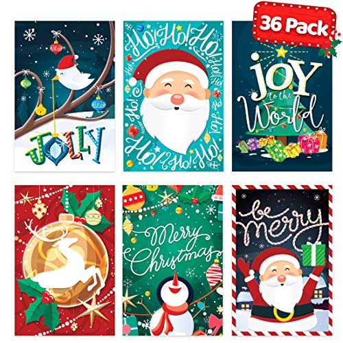 Christmas Cards with Envelopes Set - Bulk 36 pack - Blank Xmas Cards Assorted Holiday Merry Christmas Greeting Cards - Vintage, Unique and Cute (The Best Christmas Greetings)