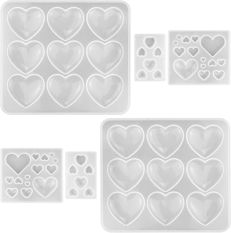 Moldes de corazón de resina para epoxi pack 6